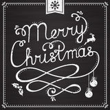 Chalkboard Christmas card with handwritten lettering. Royalty Free Stock Photos