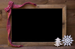 Chalkboard With Christmas Decoration, Copy Space Stock Photo