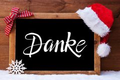 Chalkboard, Christmas Decoration, Santa Hat, Danke Means Thank You