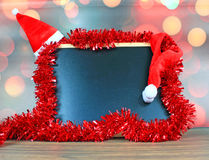Chalkboard and christmas decorations Royalty Free Stock Photo