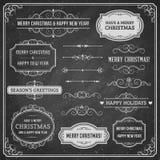 Chalkboard Christmas Design Elements Stock Photos