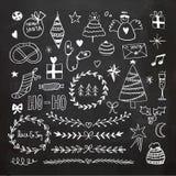 Chalkboard Christmas doodles set Stock Photo