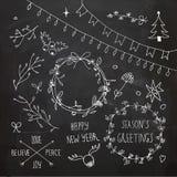 Chalkboard Christmas doodles set Royalty Free Stock Image