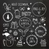 Chalkboard Christmas doodles set Royalty Free Stock Photography