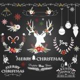 Chalkboard Christmas Flowers,Deer,Rustic Christmas,Wreath,Christmas ornaments Stock Image