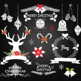 Chalkboard Christmas Flowers. The vector for Chalkboard Christmas Flowers,Deer,Rustic Christmas,Wreath,Christmas ornaments.Merry Christmas Decoration collections Stock Photography