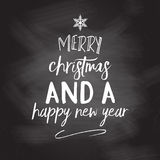 Chalkboard christmas and new year background. With typography design Stock Photo