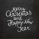 Chalkboard Christmas and New Year Wish. Handwritten Vector Lettering Stock Photos