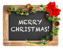 Chalkboard with christmas ornament. Merry Christmas Stock Photo