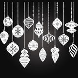 Chalkboard Christmas Ornaments,Christmas Balls Decorations,Christmas Hanging Decoration set. Royalty Free Stock Photo