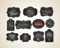 Chalkboard Christmas vintage invitation and labels Stock Images