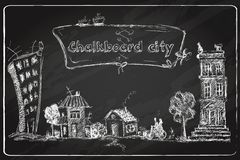 Chalkboard city doodle Stock Images