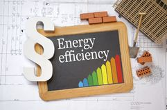 Chalkboard with classes of energy efficiency on a construction plan. Or blueprint stock image