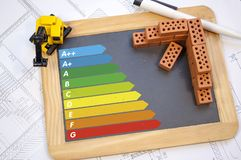 Chalkboard with classes of energy efficiency on a construction plan. With excavator stock images