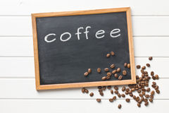 Chalkboard and coffee beans Royalty Free Stock Photos