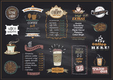 Chalkboard coffee and desserts menu list designs set for cafe or restaurant. Best coffee, good morning, welcome, take out concepts collection, copy space for stock illustration