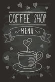 Chalkboard Coffee Shop Bistro Vector Banner and Coffee Isolated Icons 1 Stock Photos