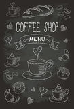 Chalkboard Coffee Shop Bistro Vector Food Icons 1 Royalty Free Stock Images