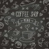 Chalkboard Coffee Shop Bistro Vector Food Icons Seamless Pattern 1 Royalty Free Stock Photography