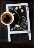 Chalkboard with coffee and sugar Stock Photography