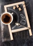 Chalkboard with coffee and sugar Stock Photos