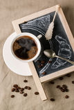 Chalkboard with coffee and sugar Royalty Free Stock Image
