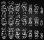 Chalkboard Collection of Diverse Stick Figure Superheroes or Superhero Families Stock Image