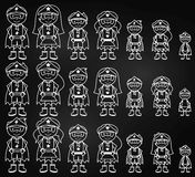 Chalkboard Collection of Diverse Stick Figure Superheroes or Superhero Families Royalty Free Stock Photos