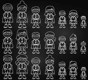 Chalkboard Collection of Diverse Stick Figure Superheroes or Superhero Families Stock Photography
