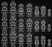 Chalkboard Collection of Diverse Stick Figure Superheroes or Superhero Families Royalty Free Stock Photo