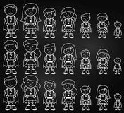 Chalkboard Collection of Diverse Stick Figure Superheroes or Superhero Families Royalty Free Stock Images