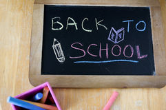 Chalkboard with color chalk Stock Photo