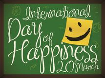 Chalkboard with Commemorative Message to Celebrate International Day of Happiness, Vector Illustration. Chalkboard with smile in yellow paper posted in it and royalty free illustration