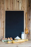 Chalkboard with copy space and pastry ingredients Royalty Free Stock Photos