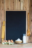 Chalkboard with copy space and pastry ingredients Royalty Free Stock Photography