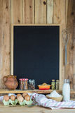 Chalkboard with copy space and pastry ingredients Stock Photo