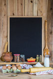 Chalkboard with copy space and pastry ingredients Royalty Free Stock Images