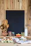 Chalkboard with copy space and pastry ingredients Stock Photos