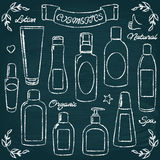 Chalkboard cosmetic bottles set 1 Royalty Free Stock Image