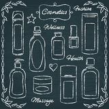 Chalkboard cosmetic bottles set 2 Stock Photography