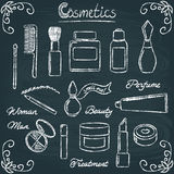 Chalkboard cosmetic bottles set 3 Royalty Free Stock Image