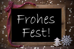 Chalkboard Decoration Frohes Fest Means Christmas, Snowflakes Royalty Free Stock Images