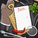 Chalkboard design with cutting board and kitchen utensil and recipe list Stock Photography