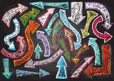 Chalkboard design elements.  Arrows. Stock Image