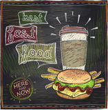 Chalkboard design with hamburger and coffee Stock Image