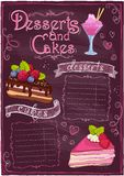 Chalkboard desserts and cakes menu. Chalkboard desserts and cakes menu with place for text. Eps10 vector illustration
