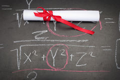 Chalkboard with a diploma Royalty Free Stock Photography