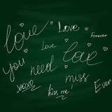 Chalkboard doodle hand drawn graphic set of love Stock Photos