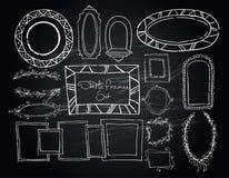 Chalkboard doodle ramy ustawiać Obrazy Stock