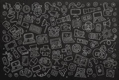 Chalkboard Doodle wektorowa ręka rysujący ustalony wyposażenie Zdjęcia Royalty Free